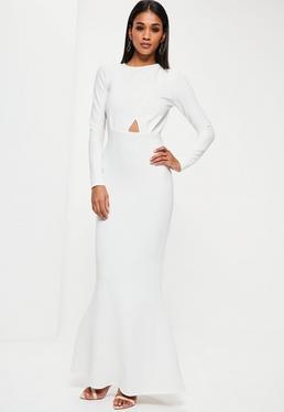 Vestido largo con espalda descubierta y manga larga en blanco