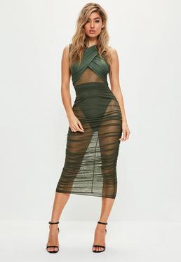 Khaki Sleeveless Mesh Wrap Ruched Maxi Dress