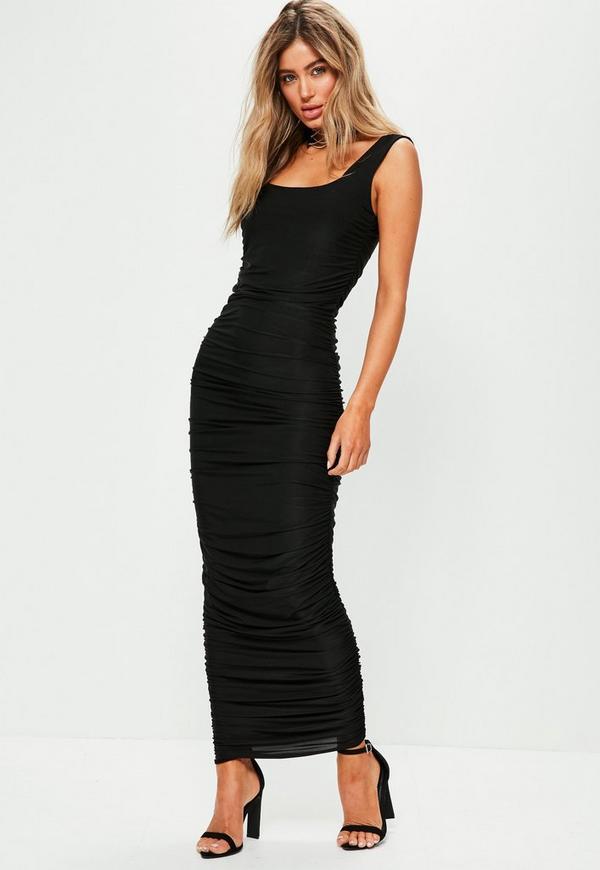 Black Sleeveless Gathered Side Maxi Dress