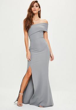 Szara długa sukienka maxi na jedno ramię z rozporkiem