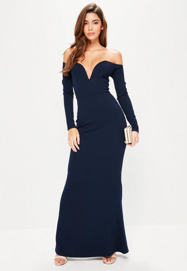 Navy Bardot Bar Maxi Dress