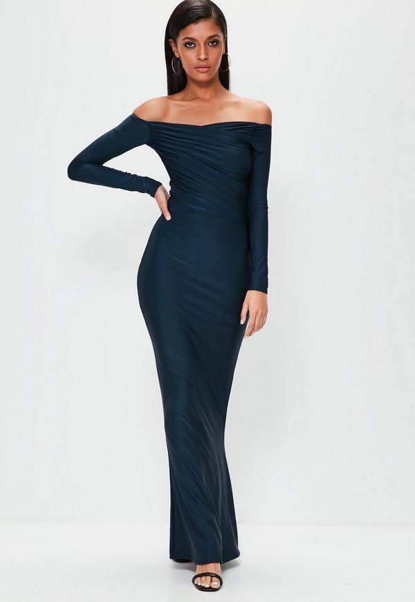 Navy Slinky Bardot Long Sleeve Maxi Dress