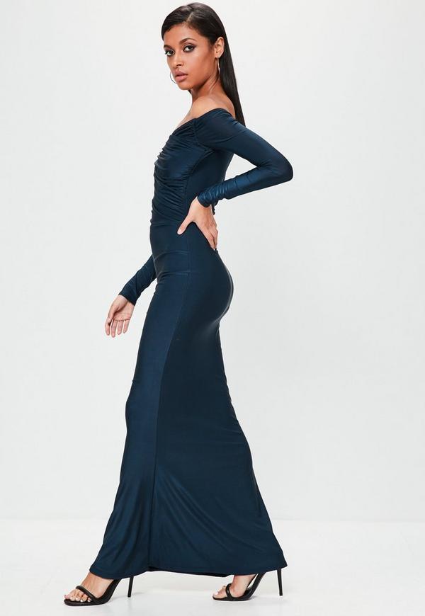 navy slinky bardot long sleeve maxi dress - missguided