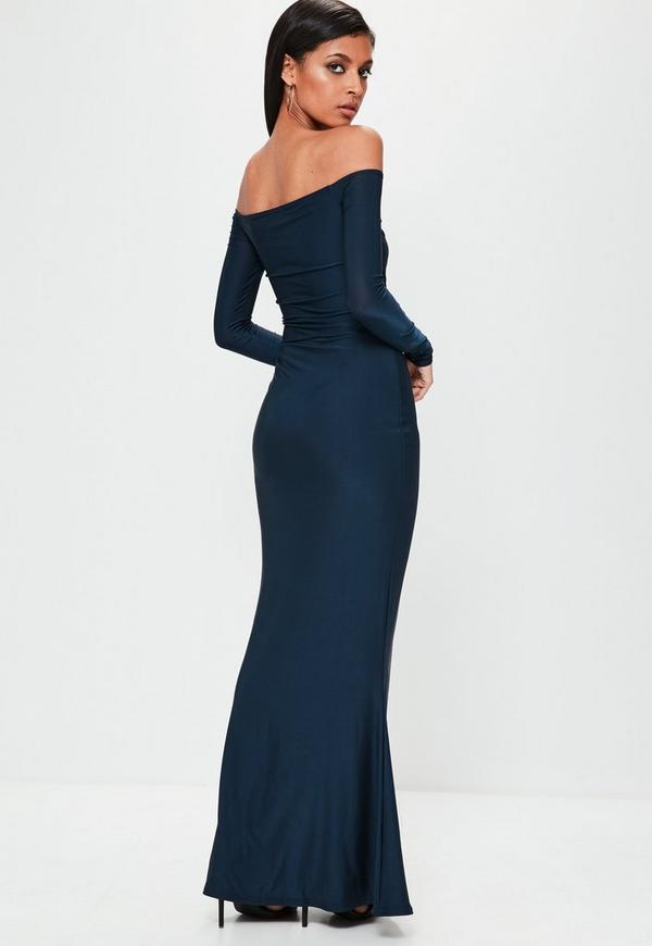 Navy Slinky Bardot Long Sleeve Maxi Dress | Missguided