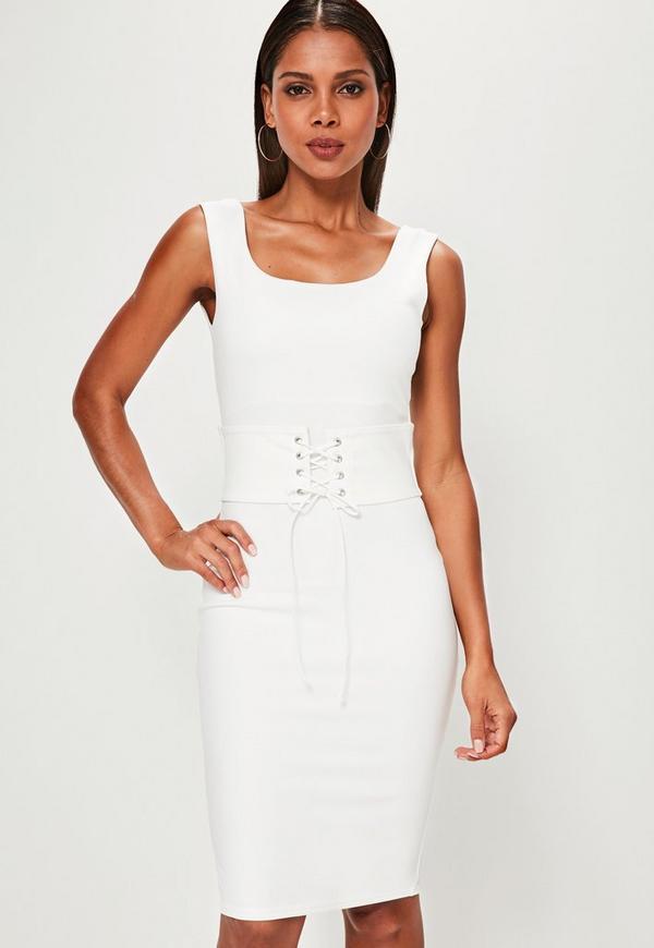 White Corset Belt Midi Dress