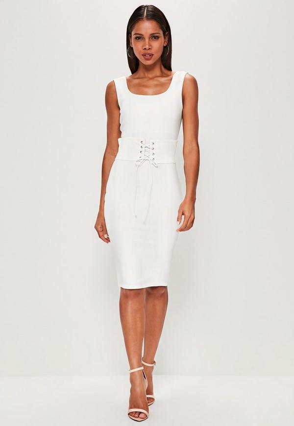 white corset belt midi dress missguided