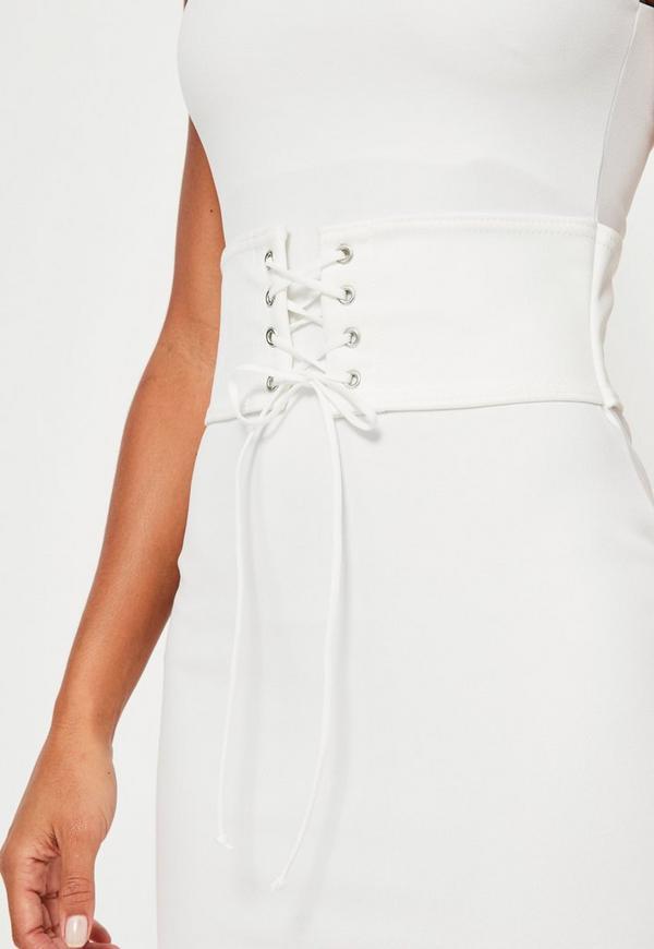 White Corset Belt Midi Dress | Missguided