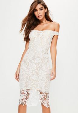 Biała sukienka midi bardot z koronki