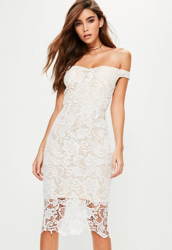 Missguided white lace midi dress