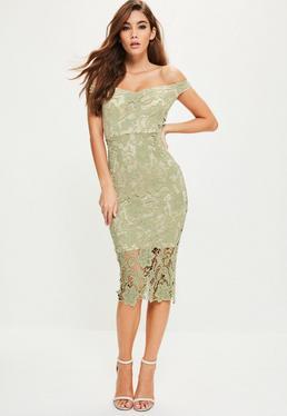 Zielona koronkowa sukienka midi bardot
