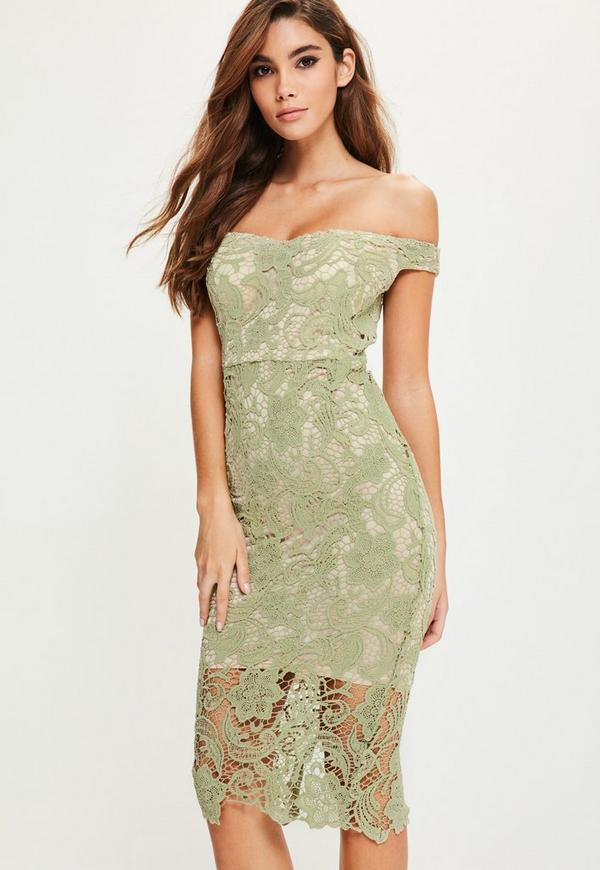 Green Lace Bardot Midi Dress Missguided