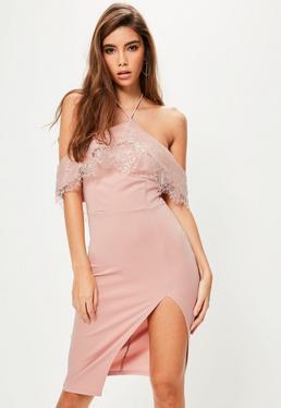 Pink Lace Frill Bardot Halterneck Midi Dress