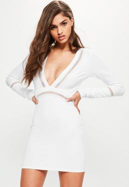 White Front Plunge Mesh Panel Bodycon Dress