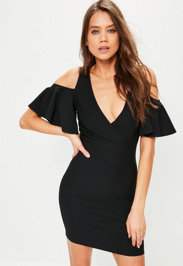 Black Frill Cold Shoulder Plunge Bodycon Dress