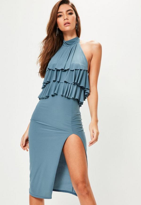 Blue Slinky Frill Top Midi Dress