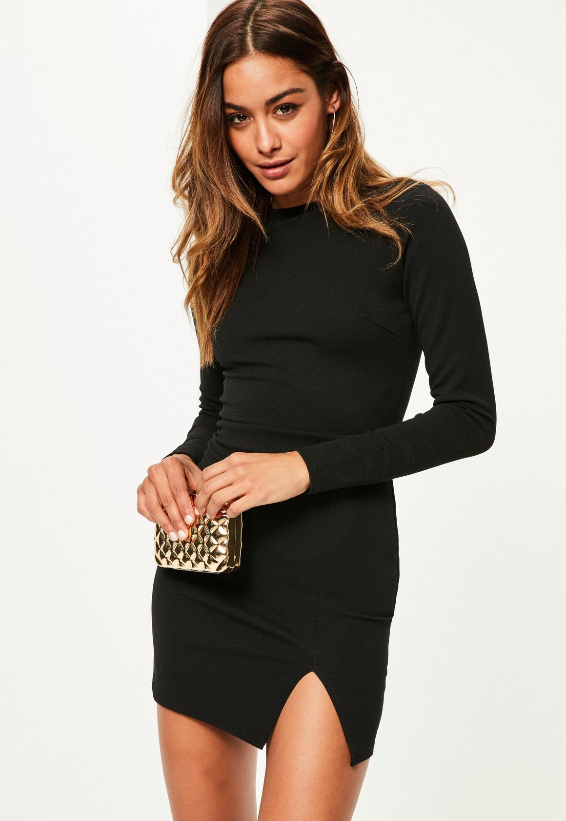 Black Crepe Long Sleeve Bodycon Dress | Missguided