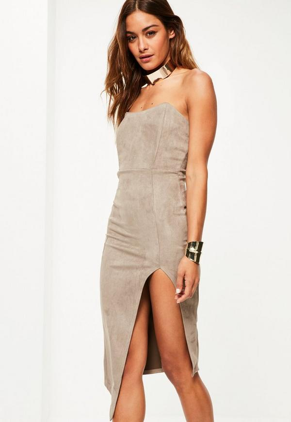 Brown Faux Suede Bandeau Side Slit Midi Dress