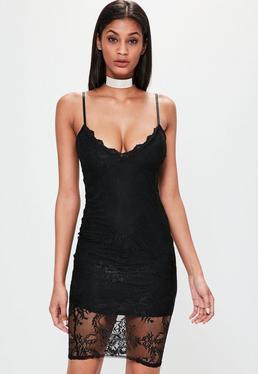 Schwarzes Bodycon Spitzen-Kleid