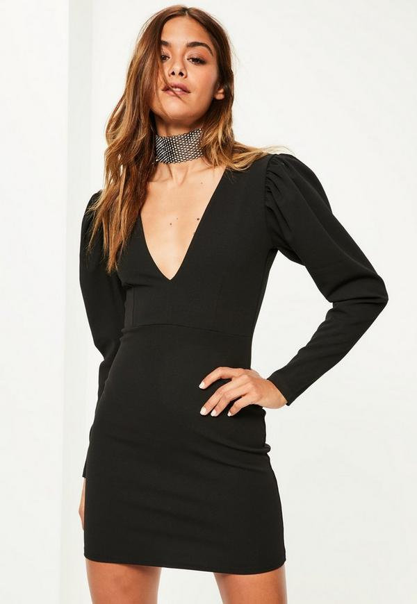 Black Crepe Long Sleeve Plunge Dress