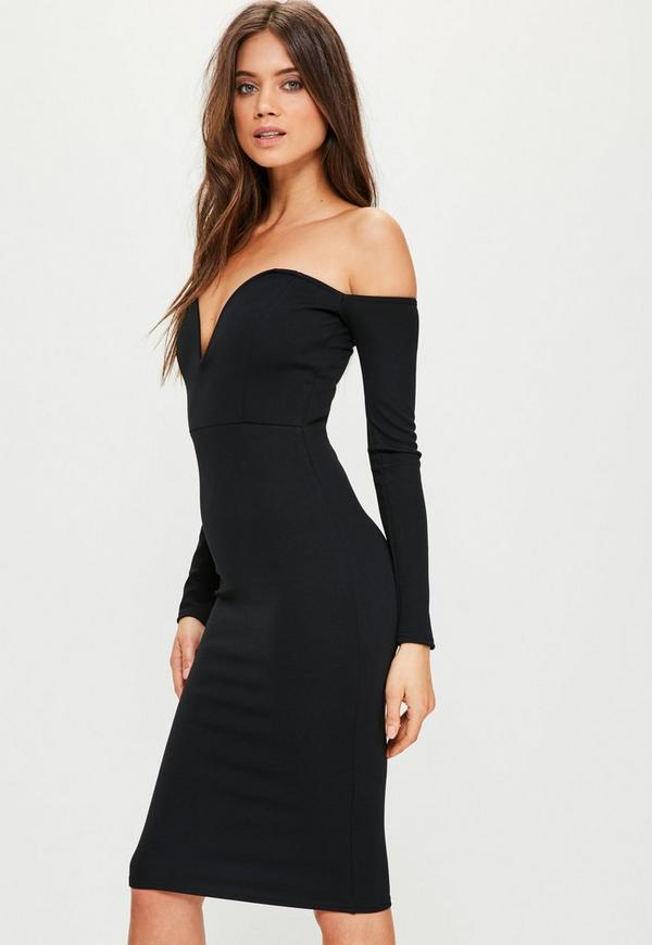 Black Bardot V Bar Bodycon Dress Missguided