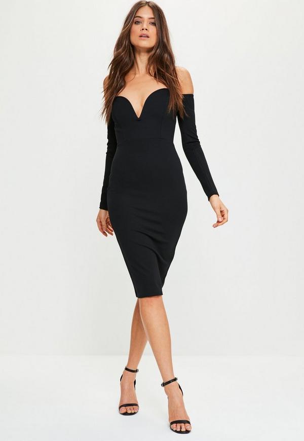 Black Bardot V Bar Bodycon Dress Missguided