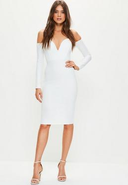 White Bardot V Bar Bodycon Dress