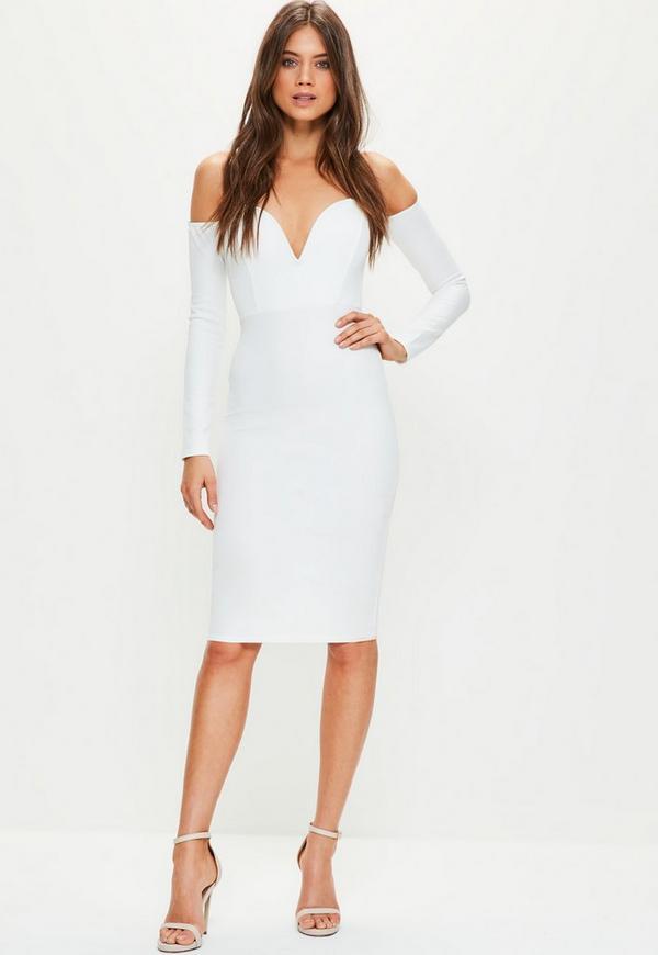 White Bardot V Bar Bodycon Dress