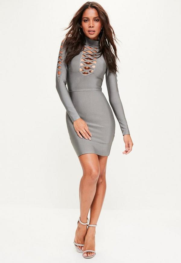 Grey Bandage Lattice Detail Long Sleeve Bodycon Dress
