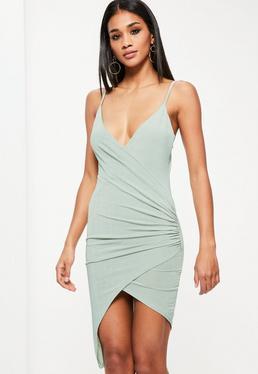 Green Drape Wrap Mini Dress