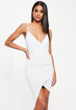 White Drape Wrap Mini Dress