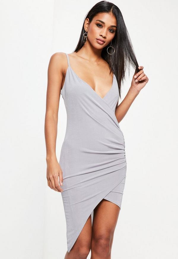 Grey Drape Wrap Mini Dress