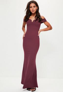 Burgundy V Plunge Maxi Dress