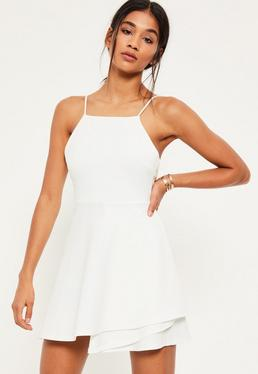 White Square Neck Open Back Skater Dress