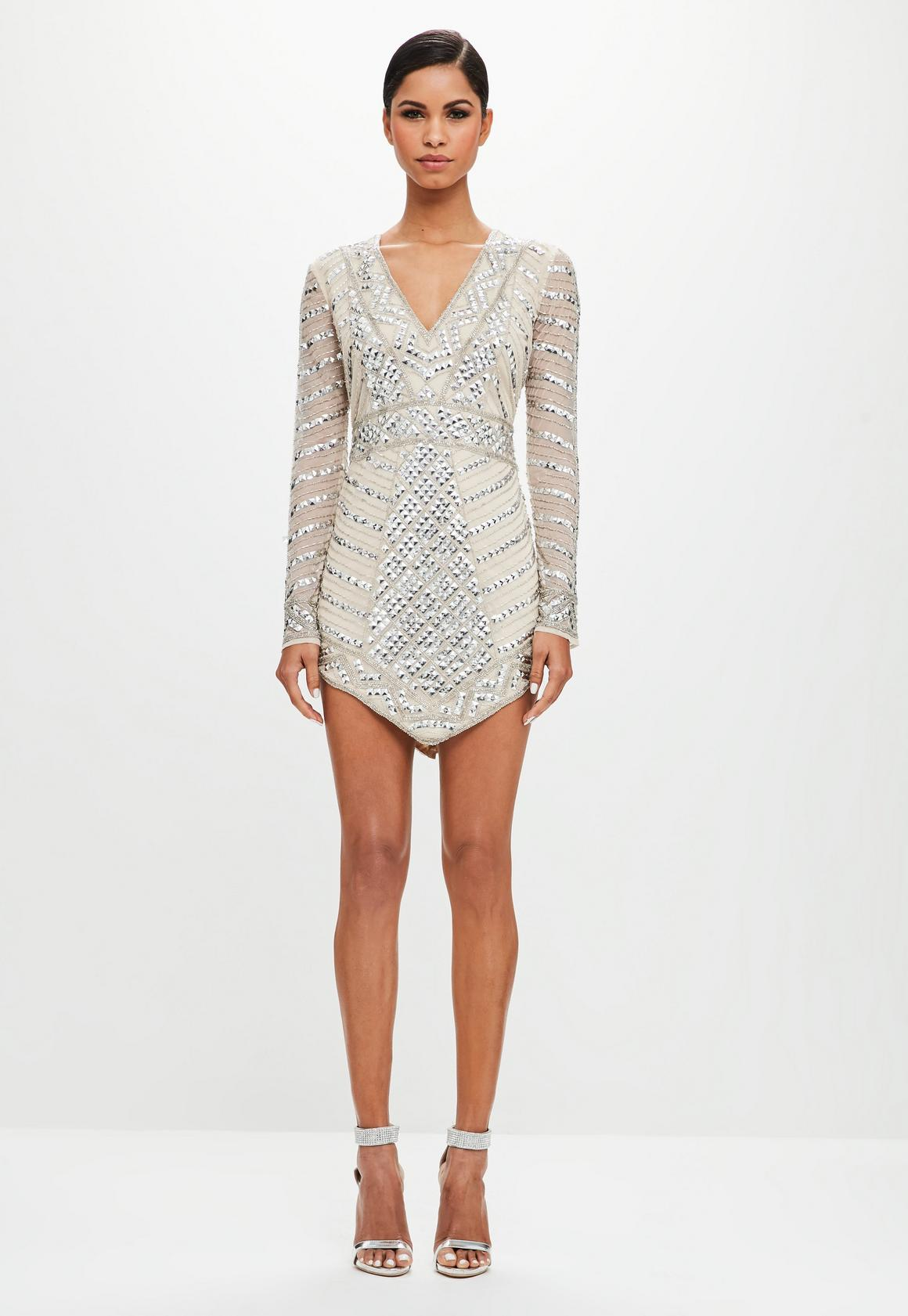 Dress up 247 login -  Peace Love Silver Embellished Triangle Mini Dress
