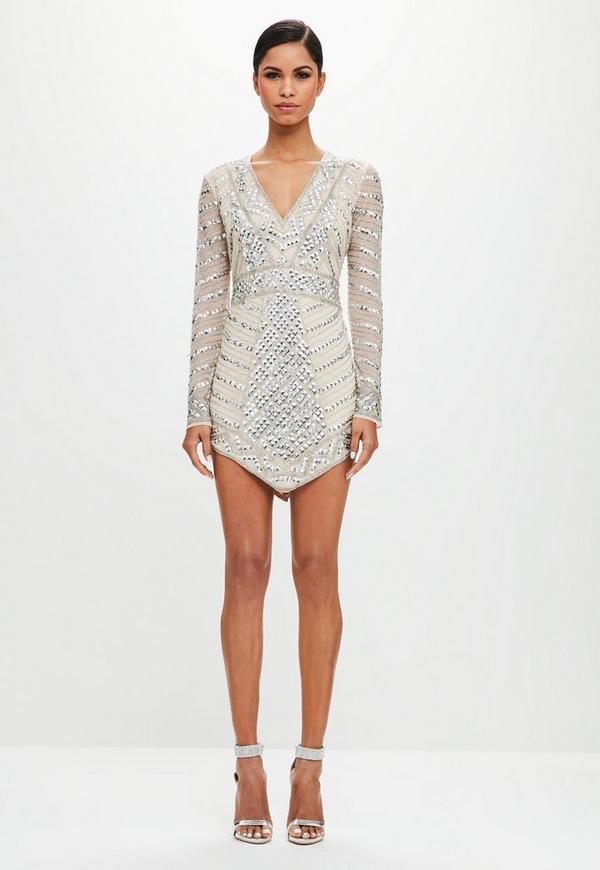 Peace + Love Silver Embellished Triangle Mini Dress