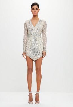Peace + Love Srebrna mocno zdobiona trójkątna mini sukienka