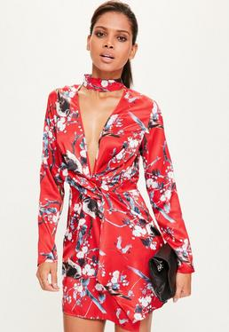 Red Silky Print Front Choker Dress