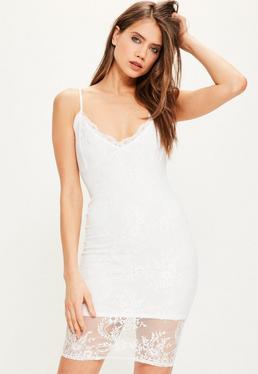 White Strappy Lace Bodycon Dress