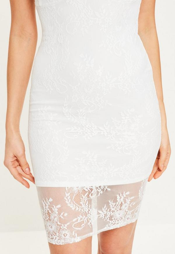 White Strappy Lace Bodycon Dress Missguided