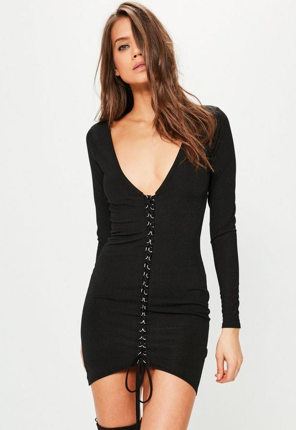 Black Ribbed Lace Up Bodycon Dress
