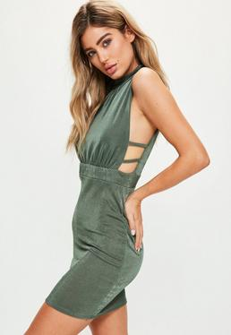 Khaki Side Strap Detail High Neck Bodycon Dress