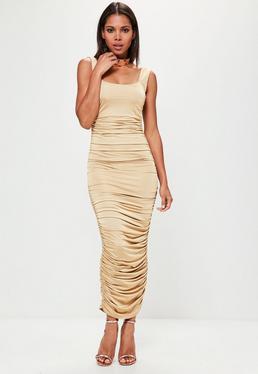 Złota marszczona sukienka maxi bez rękawów