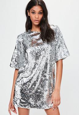 Londunn + Missguided Silver Sequin Mini Dress