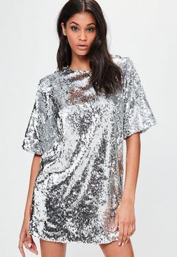 Srebrna sukienka mini z ozdobnymi cekinami Londunn + Missguided