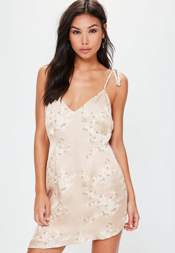 Nude Tie Strappy Printed Shift Dress