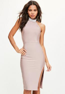 Pink Pearl High Neck Front Split Midi Dress