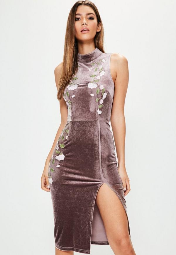 Brown High Neck Velvet Embroidered Midi Dress