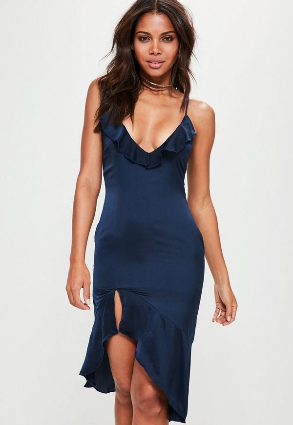 Navy Strappy Frill Detail Drop Hem Midi Dress