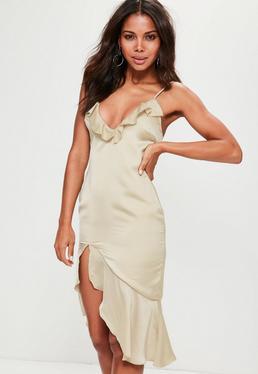Nude Strappy Frill Detail Drop Hem Midi Dress