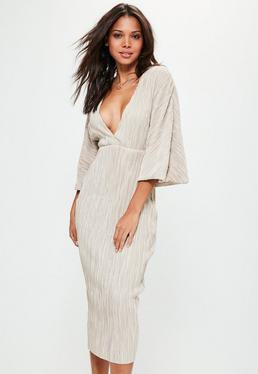Nude Flared Pleated Plunge Midi Dress